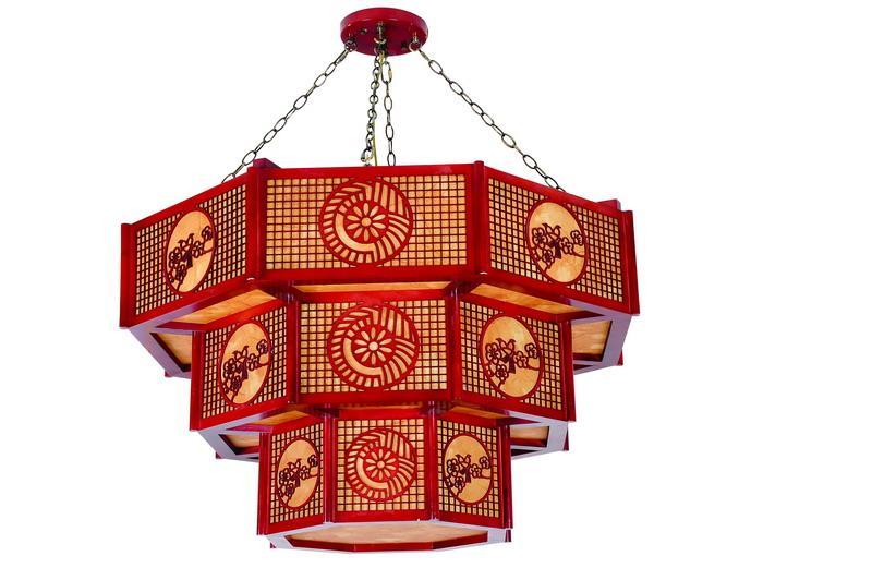 戈顿中式木艺羊皮吊灯图片