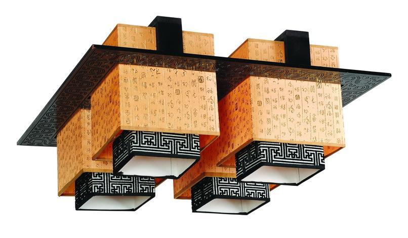 中式灯具木艺羊皮吊灯