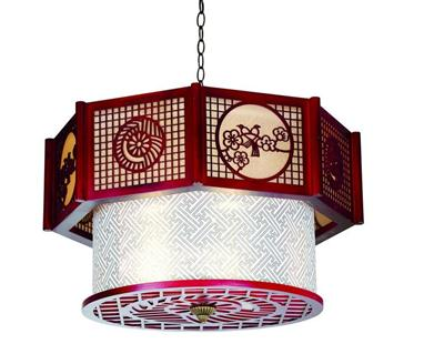 戈顿中式木艺羊皮吊灯