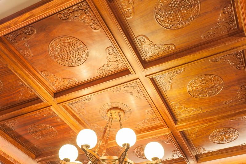 中式装修、红木整装、红木天花09