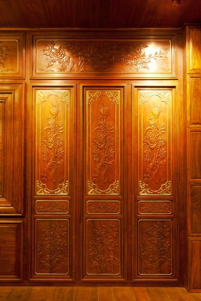 中式装修、红木整装、红木护墙板橱柜01