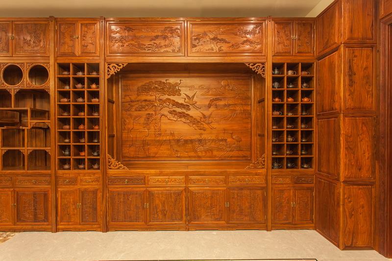 中式装修、红木整装、红木护墙板橱柜04